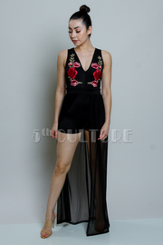 Roses Casual Romper Maxi Sheer Dress
