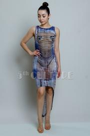 Tie Dye Hi Low Razor Sliced Dress