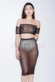 Sexy 2-Piece All Mesh Cropped Midi Skirt Set