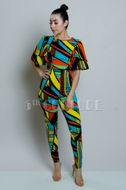 Colorful Abstract Ruffled Jumpsuit