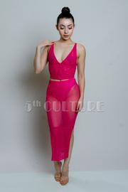 V-neck Mesh 2-Piece Cropped Midi Skirt Set
