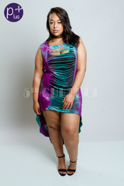 Plus SIze Cute Summer Tie Dye Sliced Hi Lo Dress