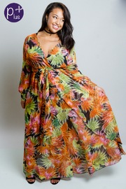 Plus Size Tropical Nights Surplice Maxi Sheer Dress