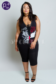Plus Size Rocker Life Tie Up Sexy Capri Jumpsuit