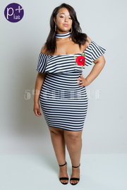 Plus Size Miss Perfect Striped Rose Patch Side Flounced Dress