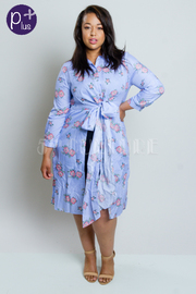 Plus Size Blooming Roses Striped Chambray Button Down Dress