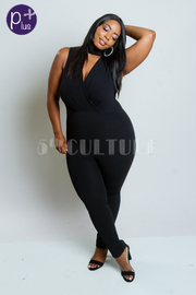 Plus Size Keyhole Stylish Solid Jumpsuit