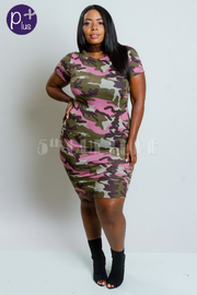 Plus Size Tight Fit Camo Printed Dress