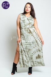 Plus Size Sliced Back Tie Dye Hooded Hi Lo Dress