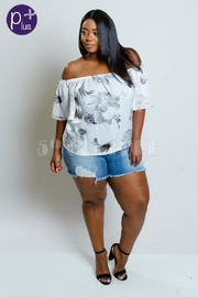 Plus Size Off Shoulder Silky Floral Top