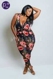 Plus Size Sexy Surplice Floral Fit Jumpsuit