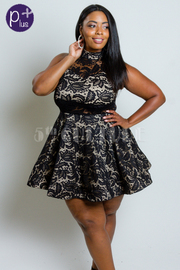 Plus Size Pretty Princess Laced Flared Mini Dress