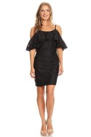 Open Shoulder Solid Mini Dress