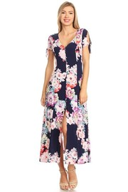Cute Floral Maxi Sheer Dress