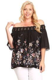 Plus Size Crochet Off Shoulder Floral Blouse