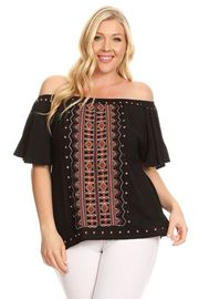 Plus Size Aztec Embroidery Trim Loose Top