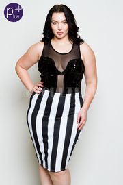 Plus Size Striped Referee Pencil Skirt