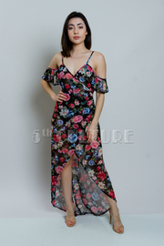 Cold Shoulder Floral maxi Mesh Hi Lo Dress