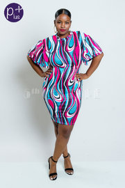 Plus Size Unique Abstract Midi Tube Dress