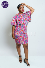 Plus Size Bell Sleeved Geo Printed Bodycon Dress