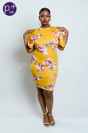 Plus Size Exagerrated Sleeved Blooming Flowers Dress