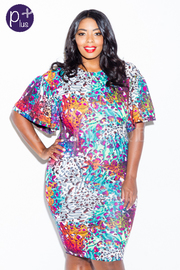 Plus Size Mixed Printed Artistic Bodycon Dress