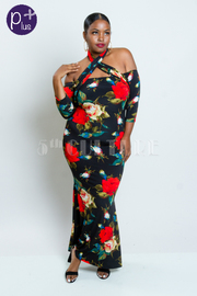 Plus Size Cold Shoulder Cross Straps Roses Maxi Dress