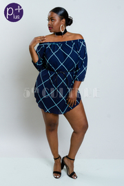 Plus Size Off Shoulder Grid Tie Waist Tunic Dress