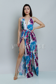Tropical Slit Maxi Summer Dress
