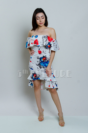 Off Shoulder Floral Mermaid Tube Dress