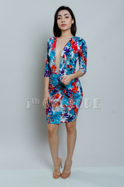Deep V Tropical Midi Tube Dress