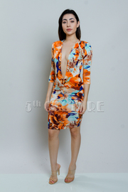 Deep V Abstract Printed 3/4 Sleeved Dress