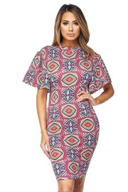 Bell Sleeved Geo Printed Tube Dress