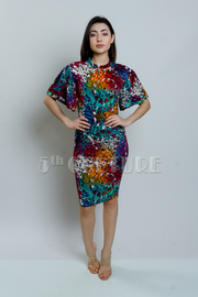 Exaggerated Colorful Printed Tube Dress