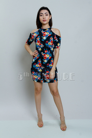 Cold Shoulder Floral Bodycon Dress