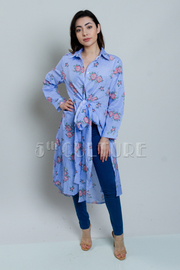 Striped Floral Button Down Chambray Long Cardigan Dress