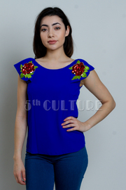 Sequin Roses Solid Woven Top