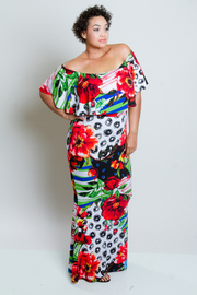 Plus Size Pretty Tropical Off Shoulder Flounce Maxi Dress
