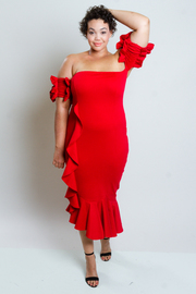 Plus Size Sexy In Cascade Off Shoulder Ruched Sleeved Dress