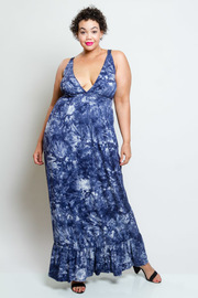 Plus Size Summer Tie Dye Ruffled Bottom Maxi Dress