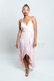 Pretty In Hi Lo Solid Woven Maxi Dress