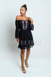 Off Shoulder Chiffon Embroidery Trim Dress