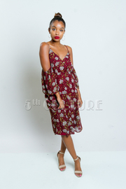 Peek A Boo Floral Sheer Flared Dres