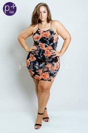 Plus Size Miss Floral Mesh Bodycon Dress