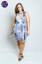 Plus Size Keyhole American Print Tie Dye Dress