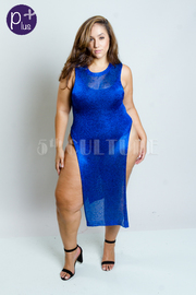 Plus Size Double Slit Shimmer Knitted Maxi Dress