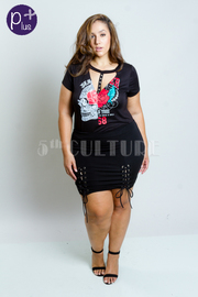 Plus Size Tie Up Mini Skirt
