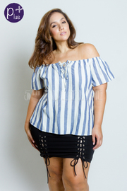 Plus Size Striped Off Shoulder Top