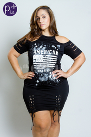 Plus Size Sliced Sleeved American Girl Tee