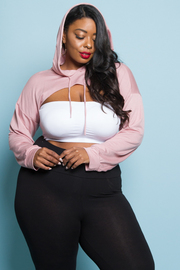 Plus Size Basic Cropped Hooded Top